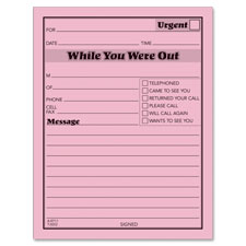 "Message Pad,""While You Were Out"",50 Sheets/PD,12/PK,4""x5"",PK"