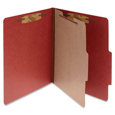 "Classification Folders, 2"" Exp,Letter,1 Partition, Earth Red"