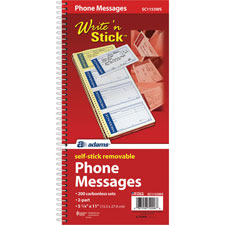 Message Book, Spiral Bound, Sticky Back notes  (1 EA)
