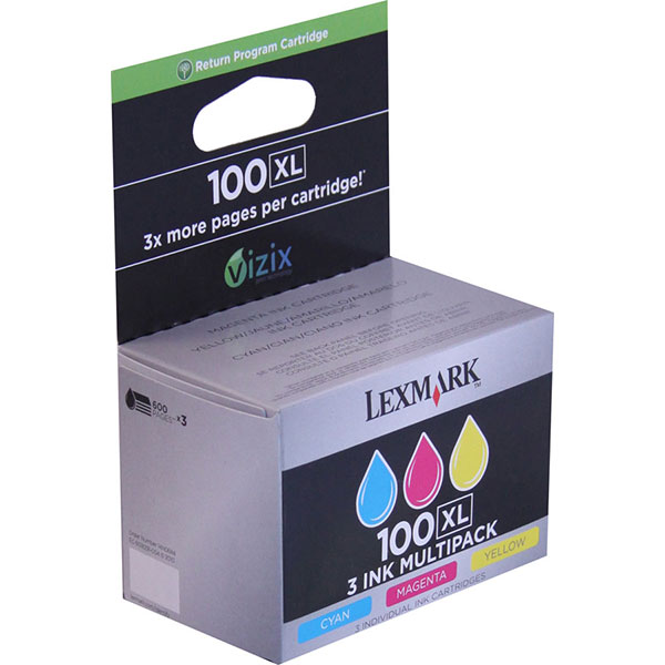 Lexmark 14N0684 (Lexmark #100C M Y XL) Cyan, Yellow, Magenta OEM High Yield Ink Cartridge (Multipack, 3pk)