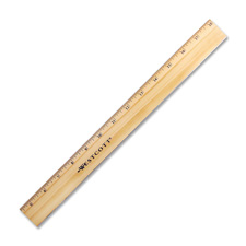 "Office Ruler, w/ Brass Edge, 12"" Long, Wood, Natural"