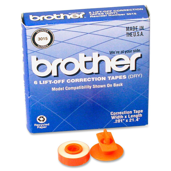 Brother 3015 Black OEM Lift-Off Correct Tape (6 pk)